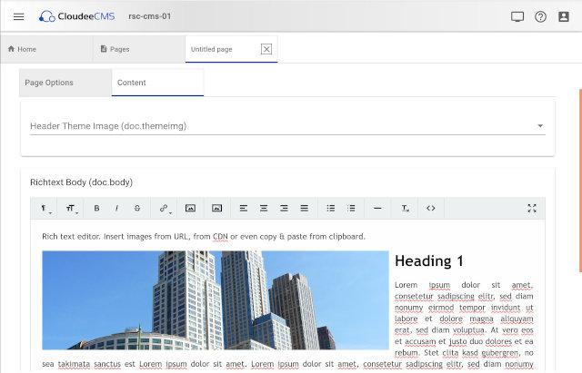 Page editor with richtext fields
